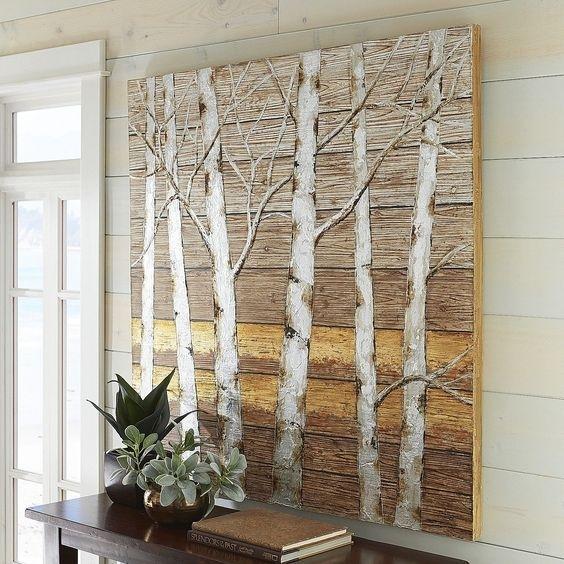 Metallic Birch Trees Wall Art 4X4 Birch Tree Decor – Ahtapot Home In Birch Tree Wall Art (Image 21 of 25)