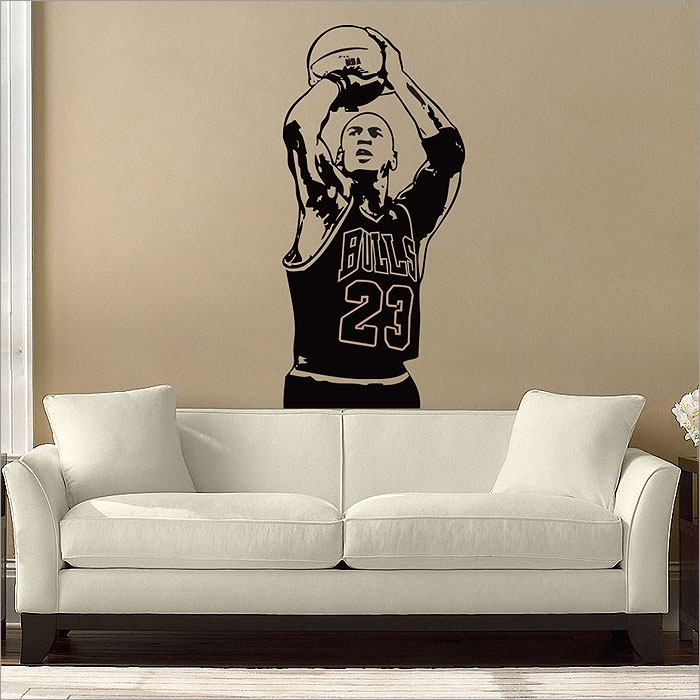 Michael Jordan Basketball Shoot Vinyl Wall Art Decal In Basketball Wall Art (Image 8 of 10)