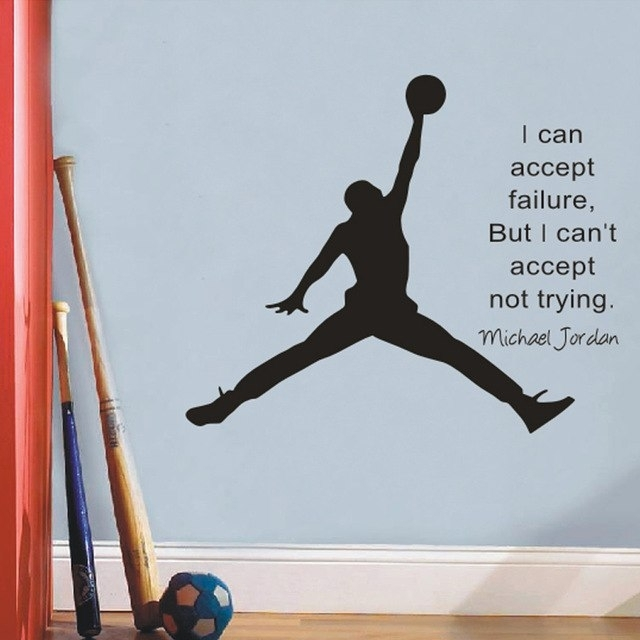Michael Jordan Basketball Wall Decals Inspirational Quotes Vinyl Within Basketball Wall Art (Image 9 of 10)
