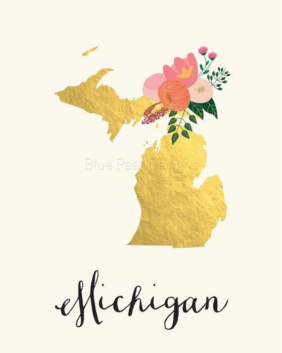 Michigan Art Printable Michigan State Art Printable Michigan Wall Intended For Michigan Wall Art (Image 7 of 25)
