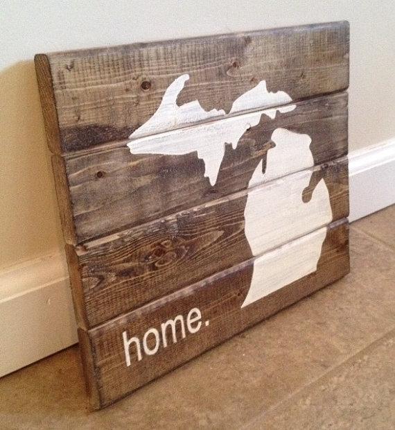 Michigan Home Sign Wood Wall Art, Michigan Wall Art – Swinki Morskie With Michigan Wall Art (View 2 of 25)