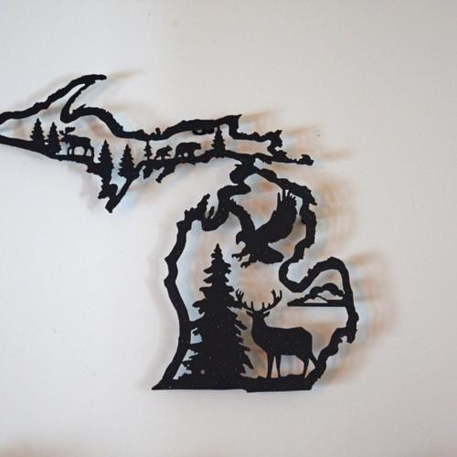 Michigan In Metal With Regard To Michigan Wall Art (Image 10 of 25)