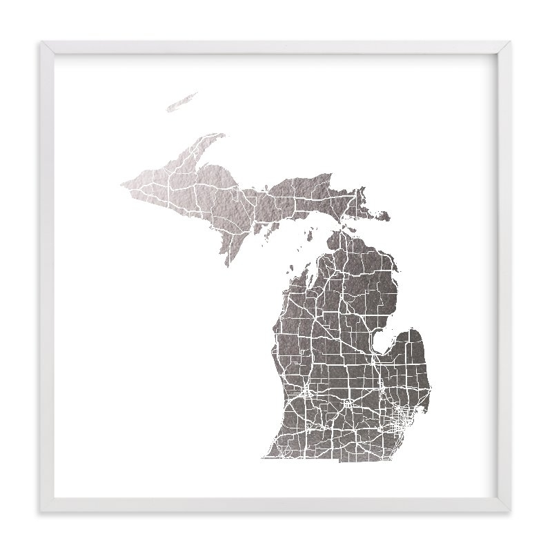 Michigan Map Foil Pressed Wall Artgeekink Design | Minted Throughout Michigan Wall Art (Image 11 of 25)