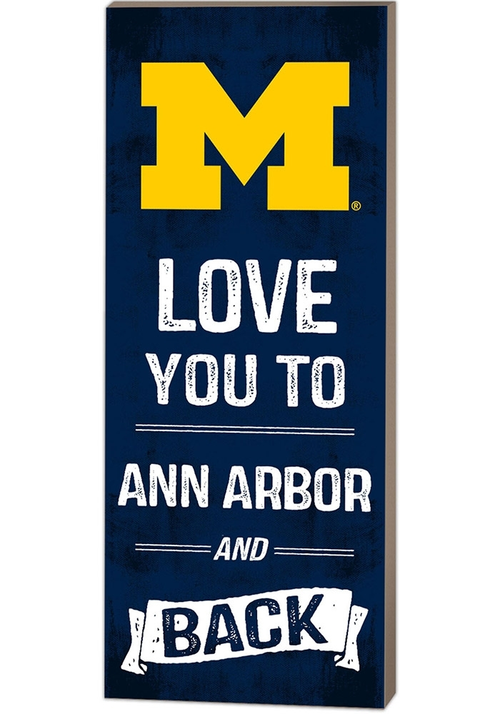 Michigan Wolverines 18X7 Love You To And Back Wall Art – 15670067 With Michigan Wall Art (Image 16 of 25)