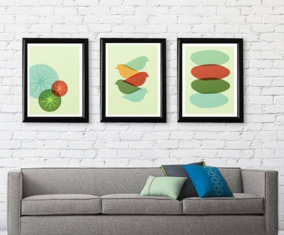 Mid Century Modern Bird Art Print Free Shipping Gifts Under 25 Mid Intended For Mid Century Wall Art (View 7 of 20)
