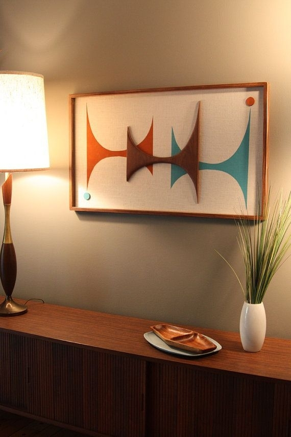 Mid Century Modern Witco Abstract Wall Art Sculpture Painting Atomic For Mid Century Wall Art (View 2 of 20)