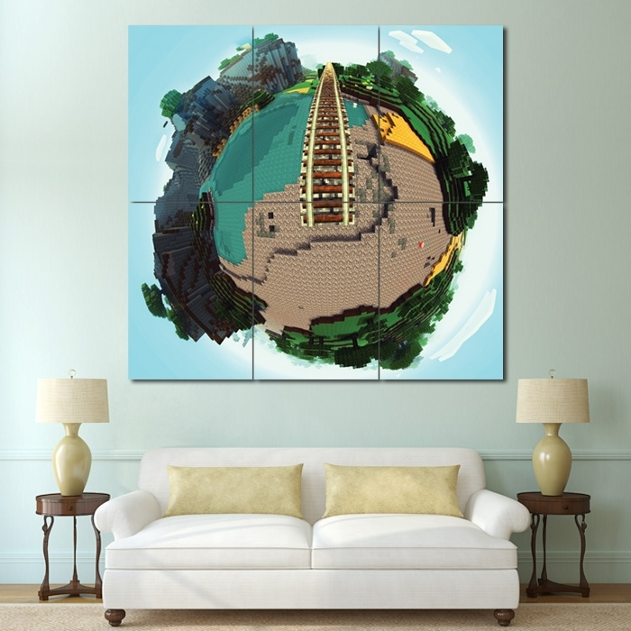 Minecraft Globe Mineplanet Block Giant Wall Art Poster For Giant Wall Art (Image 19 of 25)