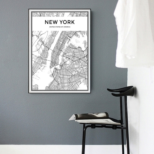 Minimalist New York City Map Canvas Painting Black And White Pop For New York Wall Art (View 15 of 25)