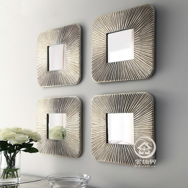Mirrored Wall Decor Fretwork Square Wall Mirror Framed Wall Art Set Within Mirrored Wall Art (View 7 of 20)