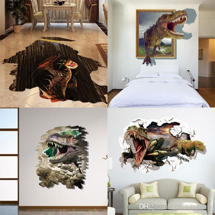 Mixed New 3D Dinosaur Wall Stickers Decorative Wall Decal Cartoon With Dinosaur Wall Art (View 17 of 20)