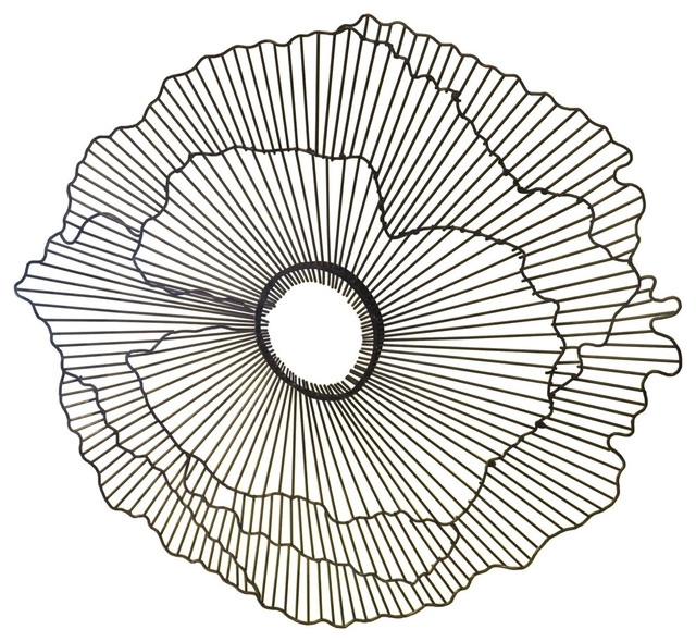 "Modern 21"" Wire Flower Wall Art, Contemporary Metal Sculpture With Regard To Wire Wall Art (View 6 of 25)"