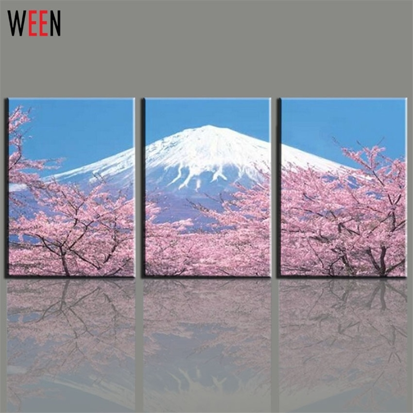 Modern 3 Panel Japanese Mount Canvas Wall Art For Living Romm Home Within Japanese Wall Art (Image 15 of 20)
