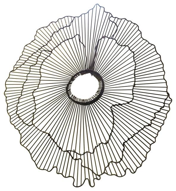 """Modern 40"""" Wire Flower Wall Art, Contemporary Metal Sculpture Regarding Wire Wall Art (View 2 of 25)"""