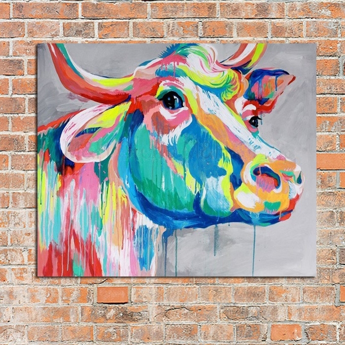 Modern Abstract Art 100%handpainted Oil Painting Cow Paintings On With Cow Canvas Wall Art (View 2 of 25)