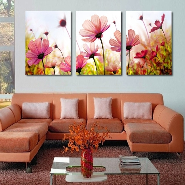 Modern Abstract Palette Knife Poppies Flower Oil Painting Wall Art Regarding Living Room Painting Wall Art (View 3 of 25)