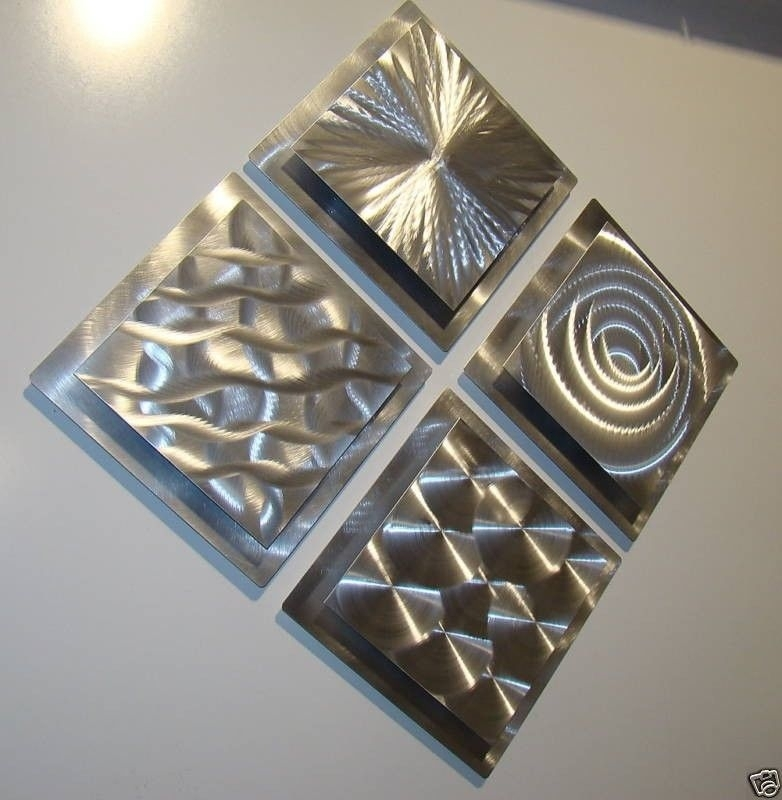 Modern Abstract Silver Metal Wall Art Original Home Decor Sculptures Pertaining To Silver Metal Wall Art (View 12 of 25)