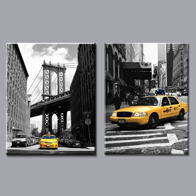 Modern Black And White Yellow Taxi Canvas Painting Prints New York Throughout New York Wall Art (Image 9 of 25)