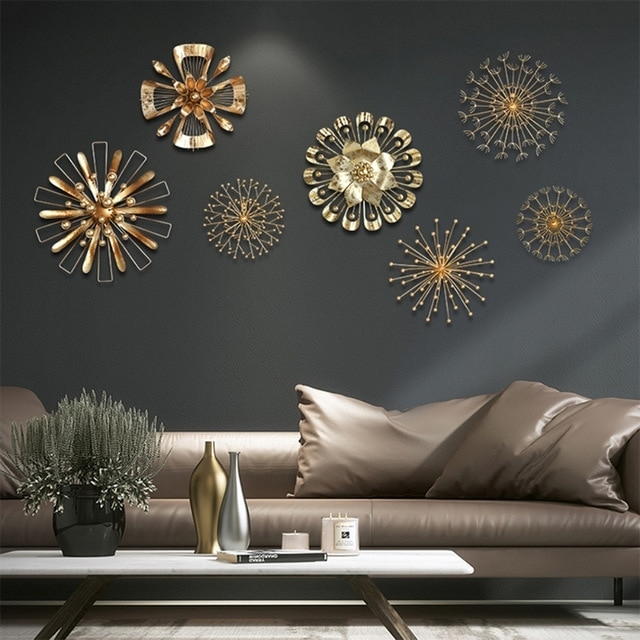 Modern Blossom Abstract Metal Wall Art Home Decor Iron Gold Wall in Gold Wall Art
