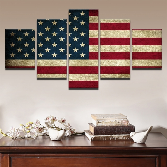 Modern Canvas Hd Prints Poster Wall Art Pictures Framework 5 Pieces Pertaining To Rustic American Flag Wall Art (View 2 of 25)