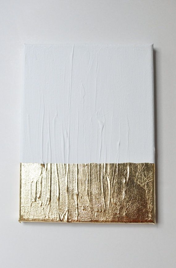 Modern Contemporary Gold White Painting On Canvas G12 | Diys And Within White Wall Art (Image 9 of 20)
