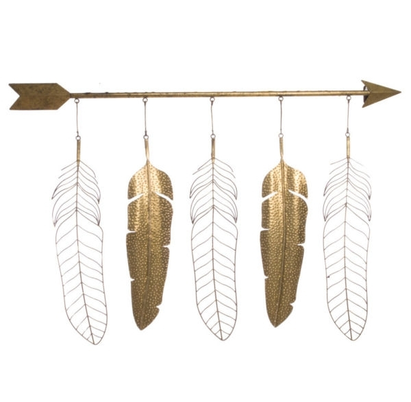 Modern Feather Arrow – Gold Metal Wall Art Sculpture Large 119Cm With Regard To Feather Wall Art (View 14 of 25)