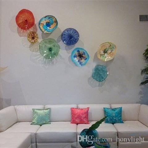 Modern Flower Plates Wall Art Colorful Tiffany Style Blown Glass For Glass Plate Wall Art (View 2 of 20)