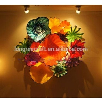Modern Flower Wall Hanging Flush Mounted Murano Glass Chihuly Blown Intended For Blown Glass Wall Art (Image 20 of 25)