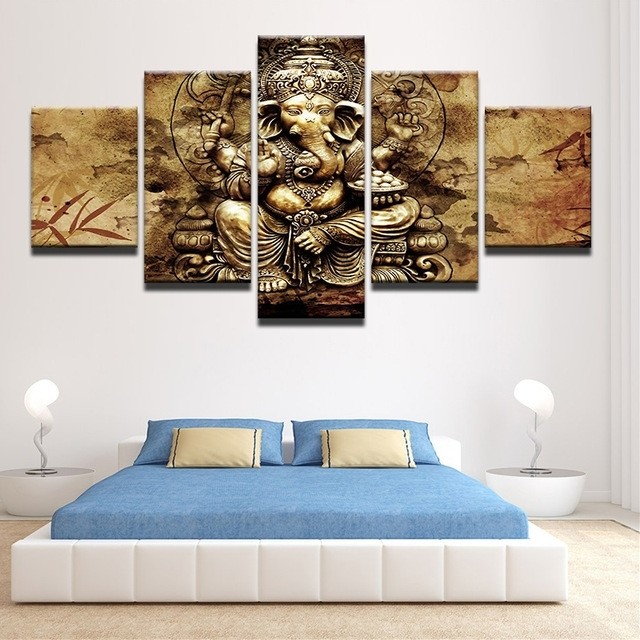 Modern Hd Printed Canvas Posters Home Decor 5 Pieces India Ganesha Inside Modern Framed Wall Art Canvas (View 1 of 25)