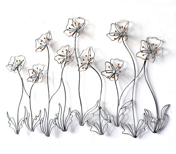 Modern Home Decor Metal Wall Art Creative Metal Flowers Golden Iron For Metal Flowers Wall Art (Image 12 of 20)