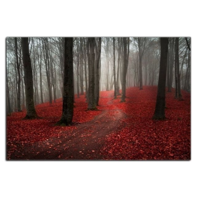 Modern Large Tree Painting Black White Red Forest Landscape Canvas In Modern Large Canvas Wall Art (Image 22 of 25)