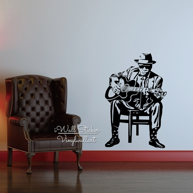 Modern Man Guitar Wall Sticker Modern Guitar Wall Decal Diy Modern Inside Modern Wall Art Decors (View 22 of 25)