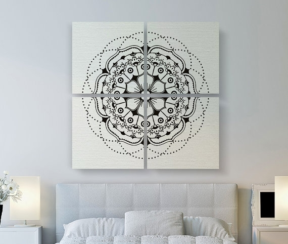 Modern Mandala Canvas Print, Large Canvas Art, 4 Set Square Canvas With Mandala Wall Art (Image 21 of 25)