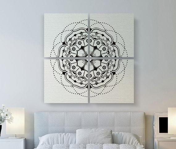 Modern Mandala Canvas Print, Large Canvas Art, 4 Set Square Canvas With Mandala Wall Art (Image 21 of 25)