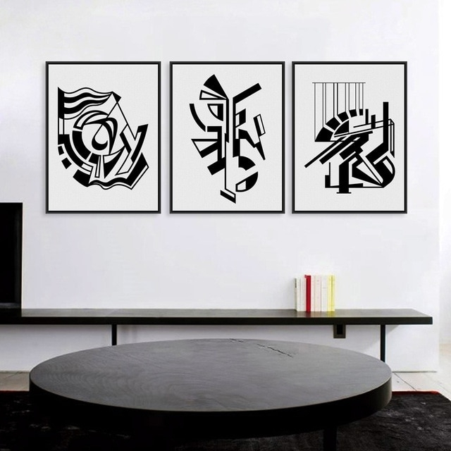 Modern Minimalist Nordic Black White Symbol A4 Large Art Prints Inside Black Wall Art (View 3 of 20)