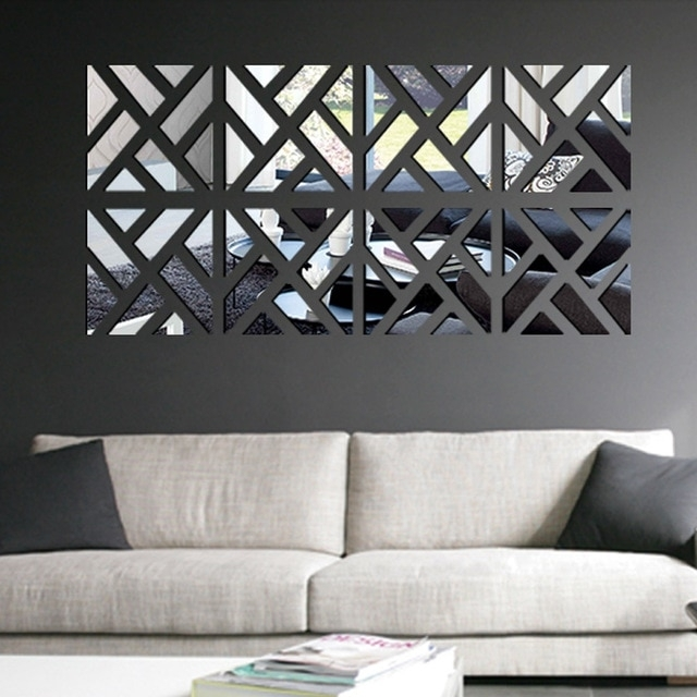 Modern Mirror Stick Diy Acrylic Removable Mirror Stick Wall Art In Stick On Wall Art (View 4 of 20)