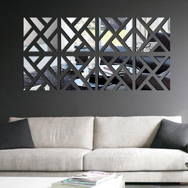 Modern Mirror Stick Diy Acrylic Removable Mirror Stick Wall Art In Stick On Wall Art (Image 10 of 20)