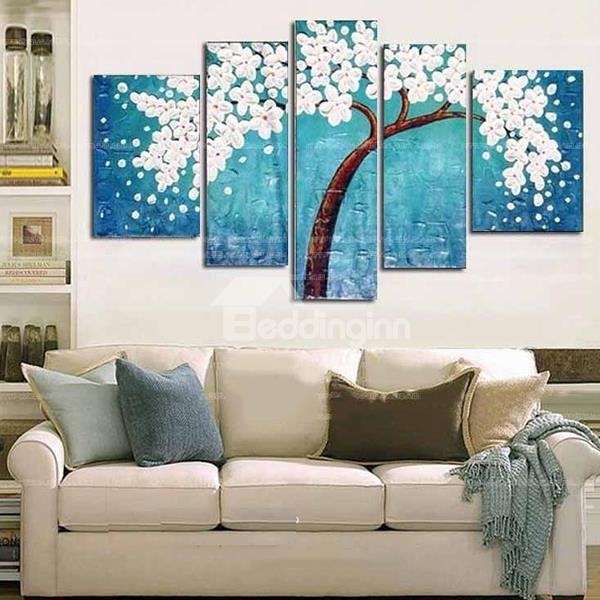Modern Oil Painting Emboss Abstract Auspicious Tree 5 Piece Wall Art Regarding 5 Piece Wall Art (Image 20 of 25)