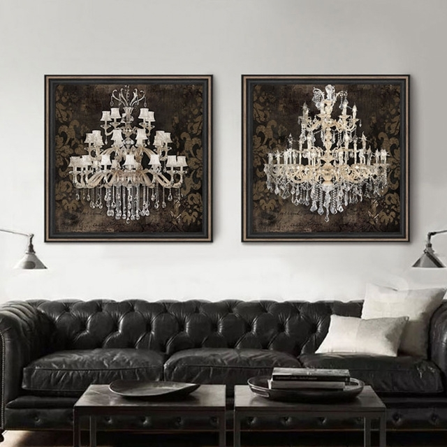 Modern Still Life Painting Canvas Art Crystal Chandelier Pattern With Regard To Chandelier Wall Art (Image 13 of 20)