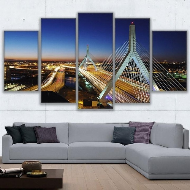 Modern Wall Art Canvas Hd Prints Painting Frame Modular Poster 5 Throughout Boston Wall Art (Image 23 of 25)
