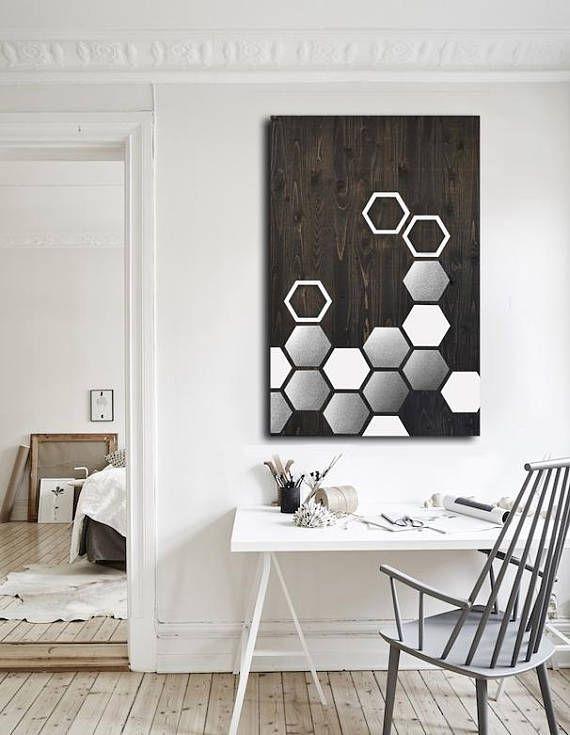 Modern Wall Art – Metal Wall Art – Wall Art Wood – Geometric Art Within Geometric Metal Wall Art (View 19 of 25)