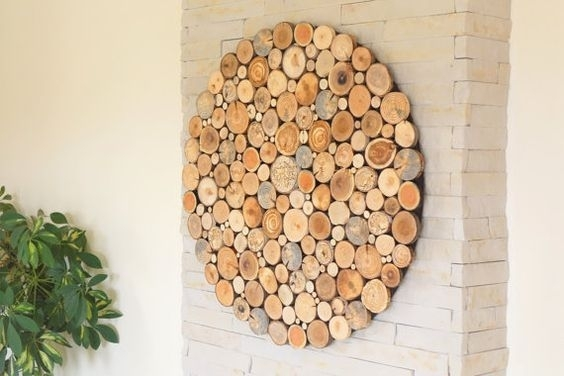 Modern Wall Wood Art Round Wooden Wall Wooden Decor, Tree Rounds Inside Round Wood Wall Art (Image 2 of 10)