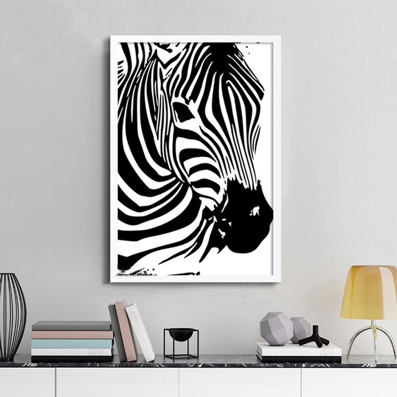 Modern Zebra Canvas Painting Animals Posters Prints Nordic Pertaining To Zebra Canvas Wall Art (View 4 of 25)