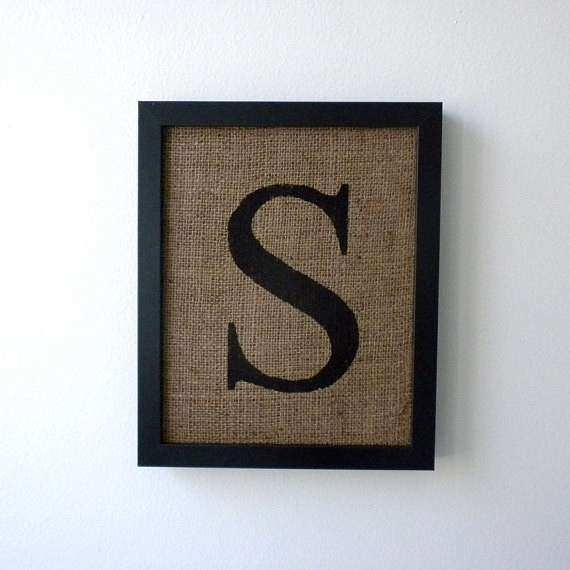 Monogram Wall Art Elegant Letter S Burlap Wall Decor Alphabet Art Throughout Monogram Wall Art (Image 13 of 25)