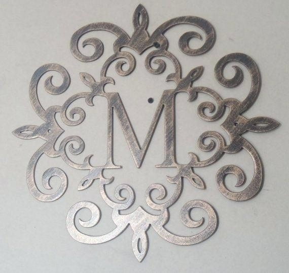 Monogram Wall Art Family Initial Antique Look Any Letter Available In Monogram Wall Art (Image 14 of 25)