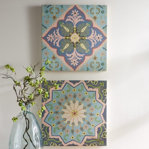 Moroccan Tile Linen Canvas Prints – Set Of 2 | Vivaterra In Tile Canvas Wall Art (Image 12 of 25)