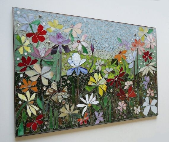 Mosaic Wall Art Stained Glass Wall Decor Floral Garden Indoor Regarding Mosaic Wall Art (View 7 of 10)