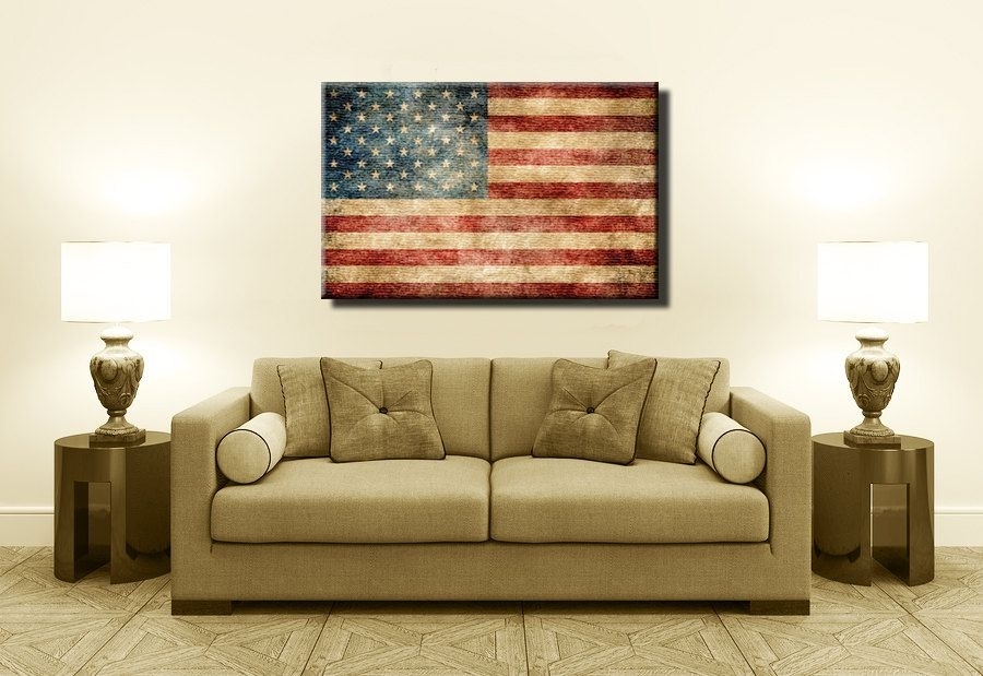Most Popular Vintage American Flag,canvas Print,flag Poster,vintage Within Vintage American Flag Wall Art (View 17 of 25)