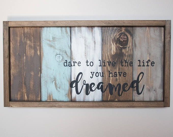 Motivational Wall Decor – Live The Life You Love – Pallet Wall Art Inside Pallet Wall Art (View 5 of 10)