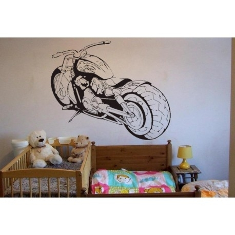 Motorbike Bedroom Wall Art Stickers, Motorcycle Wall Decal (Image 10 of 25)