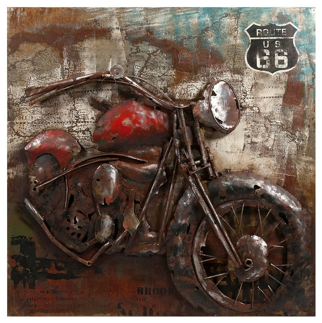 Motorcycle Dimensional Metal Art – Industrial – Metal Wall Art – With Regard To Motorcycle Wall Art (Image 13 of 25)